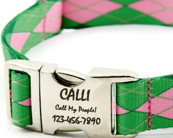 Personalized Argyle  Dog Collar with Polyester Webbing (Tough!) and Engraved Pet ID Tag, Large Dog, Medium Dog, Small Dog