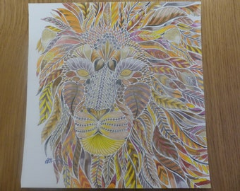 King of the Jungle coloured by Annie (Millie Marotta)