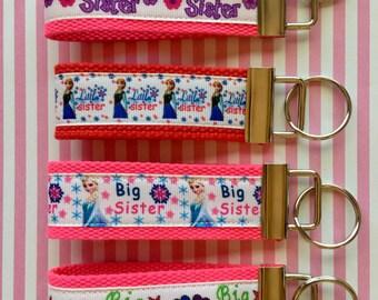 Big Sister Little Sister Princess ribbon mini finger key chain key fobs Cotton Webbing 1.25 Inch Key Fob