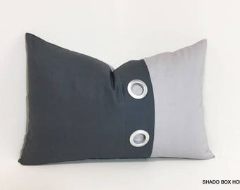 Gray Grommet pillow cover. 12x18 gray Colorblock pillow. Grommet pleat accent in charcoal and light grey. home decor lumbar pillow cover