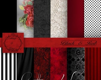 Sale Red Digital Papers, Red and Black Digital Paper, Black Lace, Red and Black Digital, Red and Black Paper, Red Roses,   No 1115