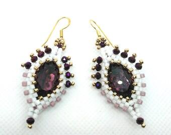 Purple earrings, beaded earrings, cristal Swarovski earrings, silver earrings, handmade earrings, women earrings, gift for girl friend,
