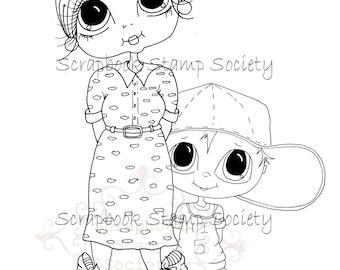 INSTANT DOWNLOAD Digital Digi Stamps Big Eye Big Head Dolls Mom and Her Shy Boy My Besties Digi By Sherri Baldy