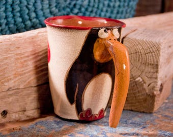 Ceramic mug, Handmade mug, gift for her, Pinguin mug, Vintage pottery,