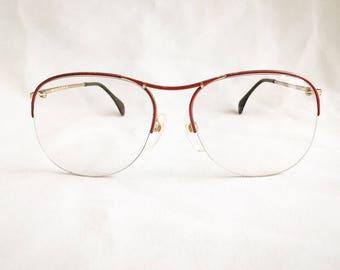 Vintage 1980's Silhouette Oversized Half Rim Eyeglasses Glasses Frames