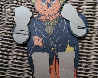 Vintage, Beistle, Scarecrow ,Dancer, tissue-paper arms and legs,  Die cut, Decoration, Made In The USA, Old, Halloween, Biestle ,Antique