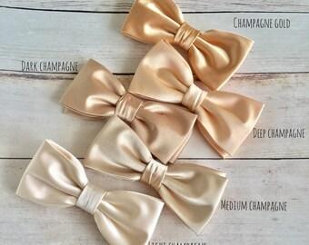 Champagne Satin Bow tie, Champagne Gold Bowtie, Dark Champagne BowTie, Wedding Bow Tie, Bow tie for Groom Groomsmen, Mens Bowtie, Kid Bowtie
