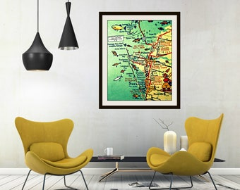 Anna Maria Key Map Art, Sarasota Florida Map Art, Siesta Key Map Wall Art Bradenton Beach Artwork Wanderlust Art Beach Wall Art Florida Map