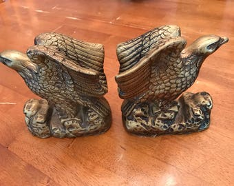 Vintage American Eagle bookends. Lego chalk ware Made in Japan