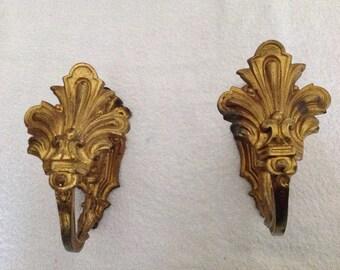 Pair of Antique Brass Curtain Tie Backs.