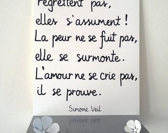 """inspirational """"Simone Veil"""" poster illustrated by hand"""