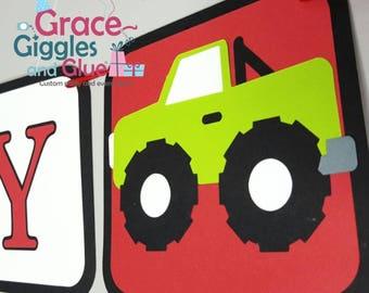 Monster Truck Themed Happy  Birthday Banner