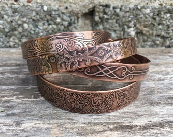 Etched copper cuff bracelets, choose a design or create your own - unique gift