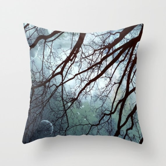 Moonlit Trees Throw Pillow, Starry Night Pillow, Decorative Pillow, Cushion, Night Sky, Whimsical, Moon, Stars, dorm, office, hotel, nature