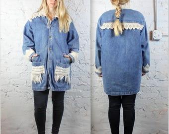 90's Denim and Macrame Oversized Jacket by Calvin Klein . Hemp Crochet Jean Jacket with Pockets and Fringe . 1990s Retro Jean Coat