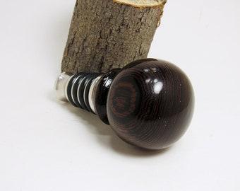 Wenge Wood Bottle Stopper, Wine Bottle Stopper, Olive Oil Stopper, Turned Bottle Stopper – No 5