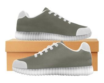 Ardoise | LED Light Up chaussures | Hommes & femmes tailles | Tige extensible haute | Semelle intérieure en tissu | Recharger | Choisissez noir ou blanc garniture