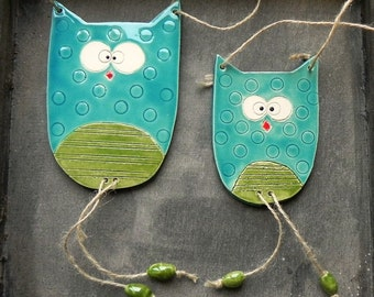 Nursery Decor Owl Brothers Family Ornament Woodland Ceramic Wall Art Pottery Aqua and Green - Set of 2