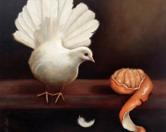 """Original signed oil painting on MDF, """"Fantail On Shelf"""" Still life in the old Dutch Masters style."""