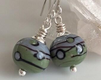Blue and Green Lampwork Glass Earrings   Sterling Silver Earrings