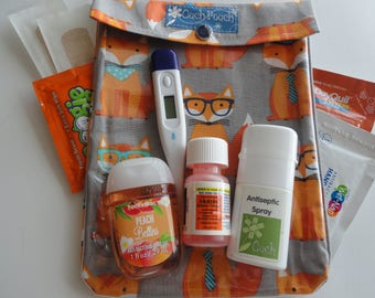 Orange Fox Ouch Pouch Large 6x8 Clear Front First Aid Case Diaper Bag Day Care Purse Organizer Airplane Carry on Toddler Boy Gift
