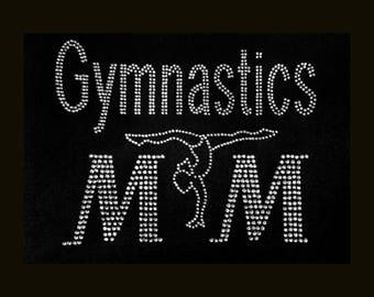 "Gymnastics, Gymnastics Mom Silhouette (6x8"") Rhinestone Bling on Black T-Shirt -  Customize Add your Name etc."