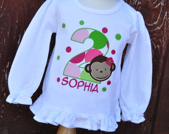 Personalized Monkey Girl Kids Birthday Ruffle Shirt / Polka Dots / Long Sleeve