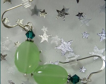 Green Lovers Sterling Silver Earrings--Chalcedony Quartz and Swarovski Crystals