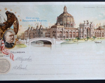 World's Columbian Exposition 1893 President Grover Cleveland Antique Postcard Souvenir Card Government Building
