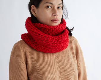 Crocheted Everyday Circle Scarf in Crimson