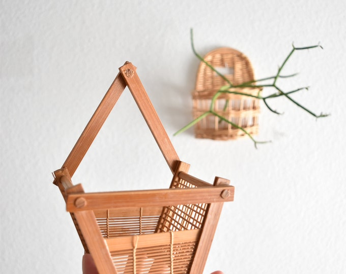 vintage small wicker woven wall hanging basket with pocket / planter