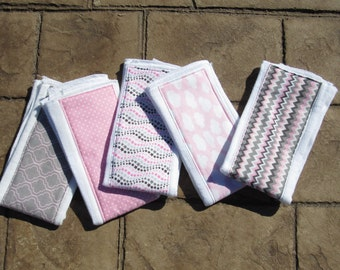 Baby Burp Cloths, Set of 5 Sweet Baby Girl Dreams in Coordinating Pinks & Greys Prints