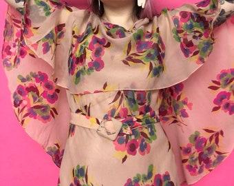 1930s Dress / 30s Floral Chiffon Dress / 1930s Evening Gown & Cape