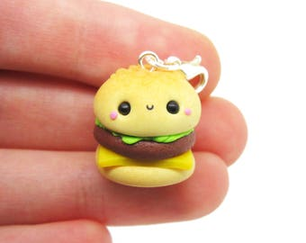 Kawaii Burger Charm, Polymer Clay Food Jewelry, Polymer Clay Burger, Food Stitch Markers, Kawaii Food Charm, Kawaii Stitch Marker