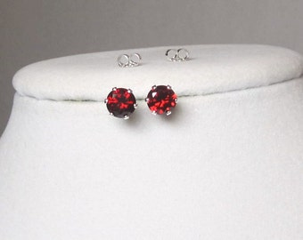 Gemstone Red Cubic Zirconia Studs 6mm or 4mm Earrings Sterling Silver or 14Kt Gold Filled