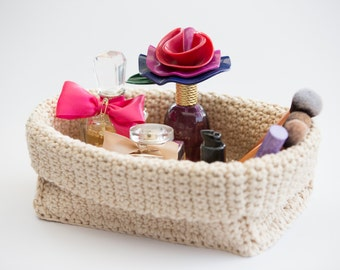 Handmade Crochet Rectangular Basket