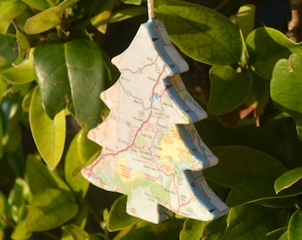 Custom Map Tree Christmas Ornament. You choose any Location In USA or World.
