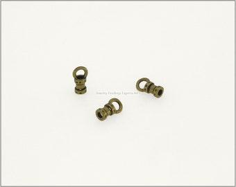 10 pc.+  1.5mm Crimp End Cap, Crimp Ends, Cord Ends for Leather Cords & Chains - Antique Brass color