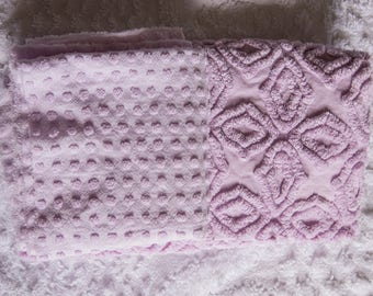 """Lavender vintage chenille bedspread pieces, two are 24"""" x24""""  each"""