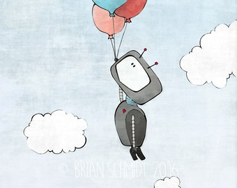 Robot and Balloon - Sky and Clouds Nursery Print, Cute Robot Nursery Decor, Kids Print