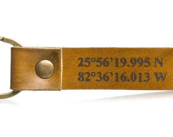 Leather keychains Coordinate keychain Custom coordinates Latitude longitude keychain Leather anniversary gift gps keychain Leather key fob