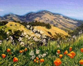 Diablo with Poppies Original Acrylic Painting / Lafayette CA Landscape