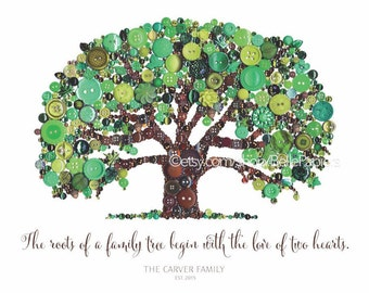 Wedding Gifts Roots of a Family Tree Begins with Love of Two Hearts PRINT Family Established Wedding Button Art Tree of Life Housewarming