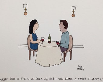 "Wine Cartoon - 5""x7"" Art Print"