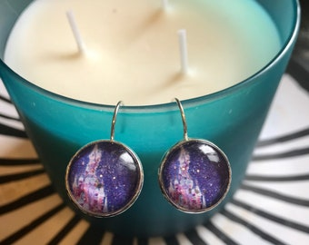 Cinderella's Castle at night cabachon earrings - 16mm