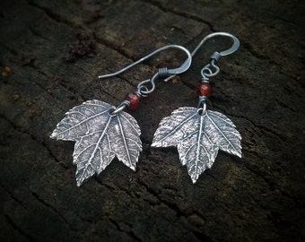 Acer spp. - Tiny Maple Leaf - Garnet - Fine Silver Real Botanical Leaf Earrings  by Quintessential Arts
