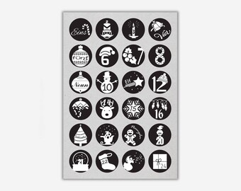 Stickers 1-24 'CHRISTMAS', black // 24pcs. - 4cm