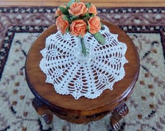 dollhouse miniature silk crochet doily, table cover, IGMA artisan