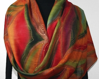 Hand Painted Silk Wool Scarf Green Burgundy Red Warm Soft Shawl SUNSET MOOD, by Silk Scarves Colorado. Select Your SIZE!  Birthday Gift.