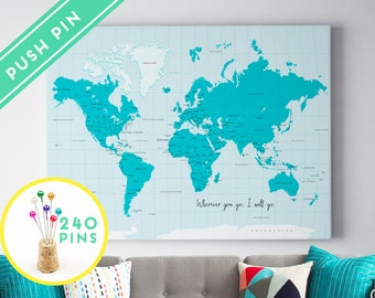 Push pin world map etsy personalized push pin world map canvas blue colors countries capitals usa and canada states gift idea pin it map 240 pins gumiabroncs Images